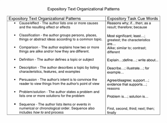 now you will choose what kind of expository essay you would like to write and pick a corresponding graphic organizer to